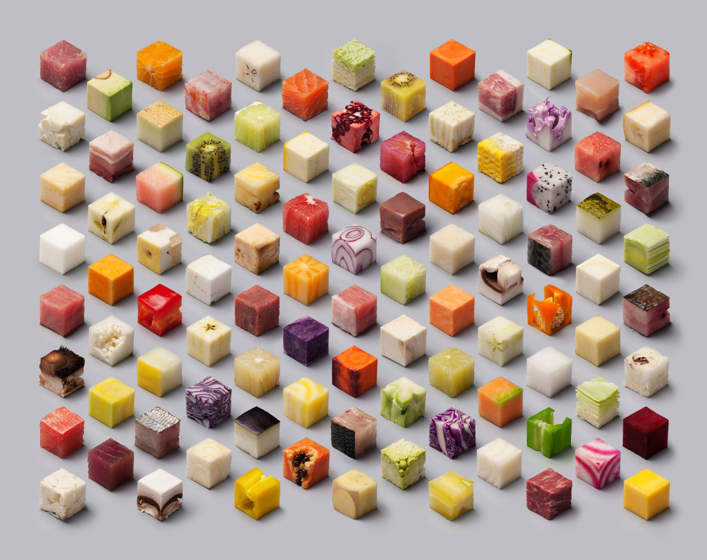 Dutch newspaper De Volkskrant asked us to make a photograph for their documentary photography special, with the theme Food. We transformed unprocessed food into perfect cubes of 2,5 x 2,5 x 2,5 cm.